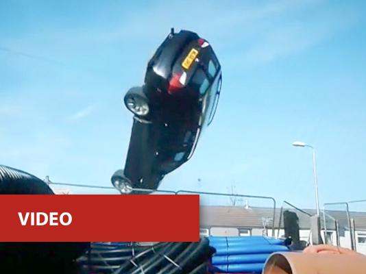 video - car overturning